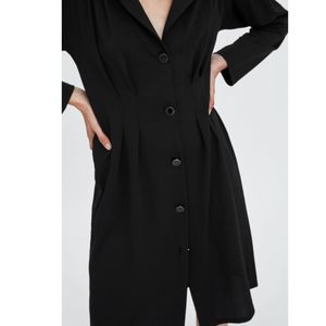 NWT! Zara Pleated Button Front Long Sleeve Dress-S